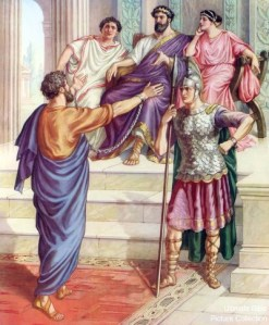 Paul before Festus, Agrippa and Bernice and a Roman soldier.