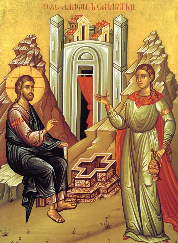 Note the shape of the well.  What I like about this icon, is that the artist has clearly understood this conversation between Jesus and the woman to be about what He has come to do for her and the the way she will receive the benefit of it, through baptism.